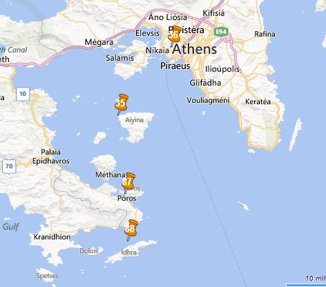 map of the one day cruise to the Saronic islands